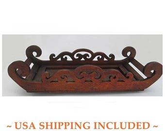 Wooden Fretwork Tray or Shelf Hand Made With Curlicued Scrollwork