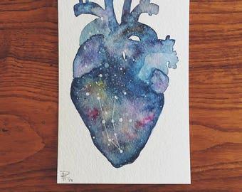 Original 4x6 Watercolor Galaxy Anatomical Heart Painting