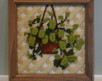 Vintage 1970s Needlepoint Plant Picture/ Hanging Plant Picture/ Latticework Needlepoint/ Handmade