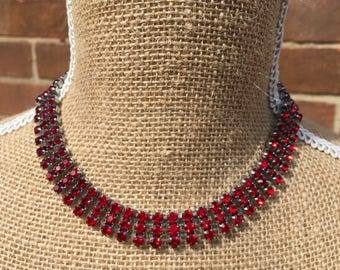 Red stone choker necklace