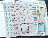 4 page cute SLOTH Planner Sticker Set great for the erin condren life planner tm and vertical planners habit tracker budget washi