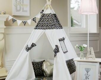Sugar Skull Teepee Package with Poles, Mat,LED Light,Flags, Kids Teepee, Play Tent, Teepee Tent,Tipi, Playhouse, girl teepee,Kids Room Decor