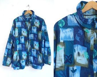80s Windbreaker Jacket Abstract Leaf Print Jacket Lightweight Nylon Zip Up Jacket Blue Green Floral Print Light Jacket Womens Jacket XL