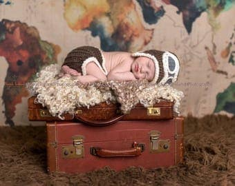 Newborn infant aviator pilot hat, baby aviator hat, infant aviator hat, baby pilot hat, newborn photo prop, aviator hat with goggles