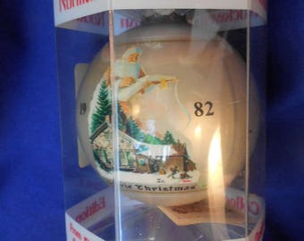 Norman Rockwell ***NEW*** Christmas Ornament 1982 Dave Grossman Santa's List and Cabin House Bulb