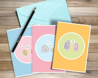 Illustrative Cartoon, Love Pun funny greeting cards, Set of 3, Printable Instant Download