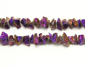 Mystic Titanium Dark Purple Crystals Beads,4-8x16-22mm,Drilled Chips Nugget Beads