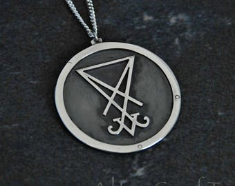 Large Silver Lucifer Pendant / Satanic Jewelry / Dark Occult Amulets / Handmade Talismans / Sigil Symbols / Magic Necklaces
