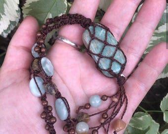 Amazonite macrame wrapped necklace