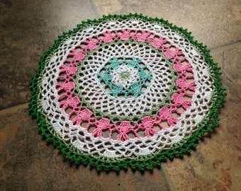 small cute bunny design crochet lace doily, easter doily, handmade crochet home decor doily, table accessories