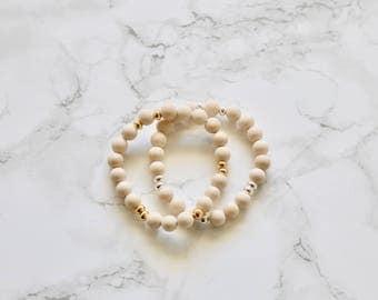 BRACELET BLOWOUT - Matte Fossil Bracelet  - Womens Bracelet - Stretch Bracelet - Gifts for Her - Gemstone Bracelet - Gemstone Jewelry