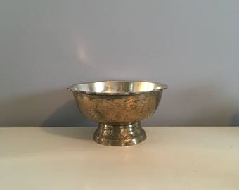 Brass Bowl on Pedestal with Beautiful Etchings