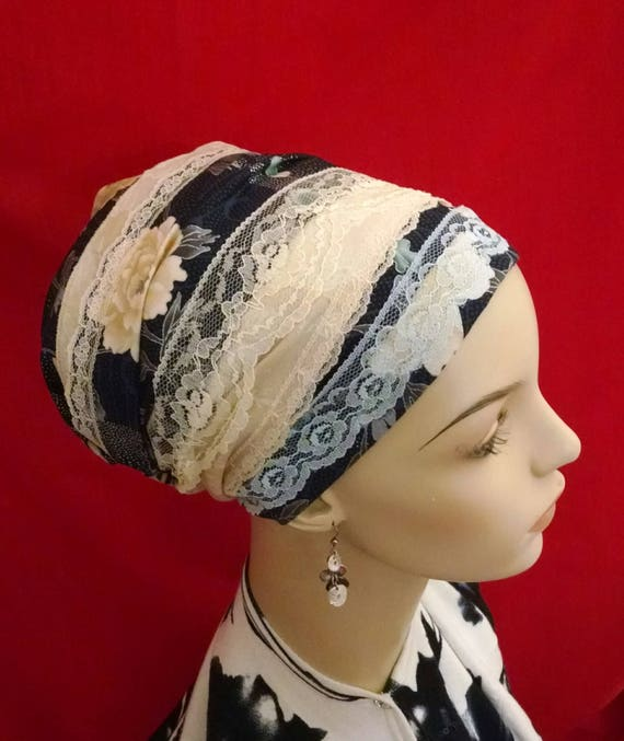 Price reduction! Navy and lace floral sinar tichel, tichels, head scarves, chemo scarves, hair snoods, head wraps