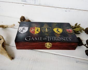 Game Of Thrones Box, Gift/For/ Men, Wooden Box Money Box Gift- For Him Keepsake Box Black Jewelry Box Gift For Fans Holder Business Card GoT