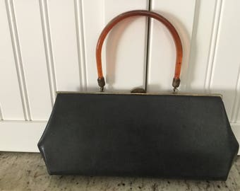 Vintage Black Leather Bakelite Handled Purse Handbag Pocketbook