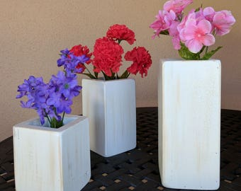 Set of 3 Shabby Chic Country Vases from Repurposed & Reclaimed Pallet Wood
