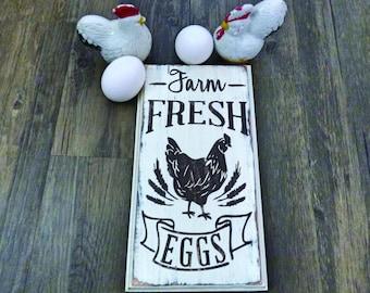 Farm Fresh Eggs - Wooden Sign - Fresh Eggs Sign - Chicken Sign - Farm Chicken Sign - Wood Chicken Sign - Wood Egg Sign - Farm Egg Sign