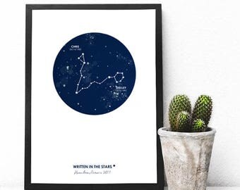 Custom Couples Gift - Constellation Print - Written in the Stars Print - Wedding Couple Gift - Couples Astrology - Wall Decor - Wall Prints