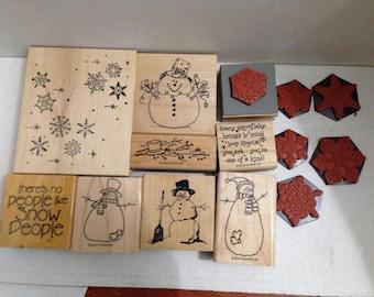 Vintage Rubber Stamp grab bag Snowmen #2