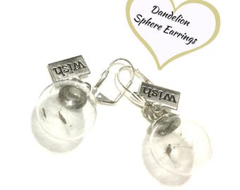 Real Dandelion Earrings, Glass Sphere Earrings, Good luck Gift, Silver Dandelion Drop Earrings, Make a Wish Gift, Free local Shipping