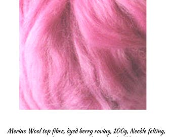 Merino Wool top fibre, dyed berry roving, 100g, Needle felting, berry Wool Roving,One Only, Excess Stock,Great Prices, DETASH