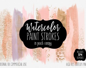 PEACH BRUSH STROKES Clip Art Commercial Use Clipart Watercolor Paint Stroke Blog Header Blush & Rose Gold Confetti Watercolour Logo Graphics
