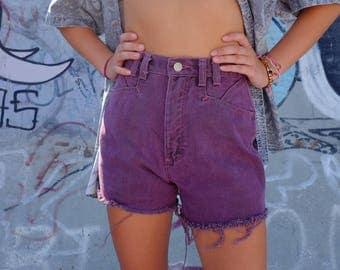 Vintage 90s Denim Cut offs by Silver Lake / Wrangler - 90s Light Acid Wash Purple Pink Jean Shorts - Distressed High Waisted - 25 Waist