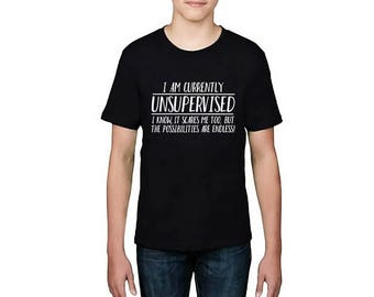 Kids Designer I Am Unsupervised The Possibilities Are Endless Printed Cotton Black T-Shirt