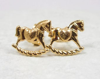 Solid 14K Yellow Gold Small Toy Horse Stud Earrings, 0.24 grams, Child