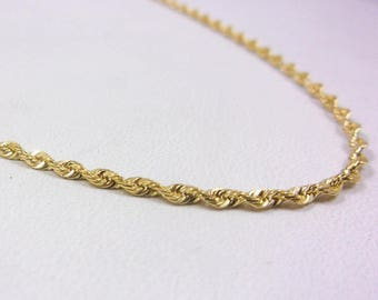 """Solid 14K Yellow Gold 20"""" 1.4mm Rope Link Chain Necklace, 4.6 grams"""