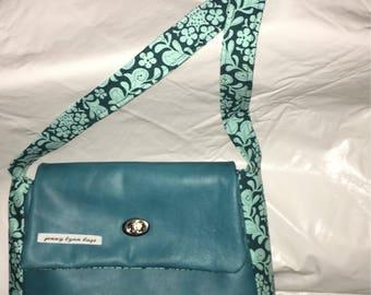 Teal leather handmade purse