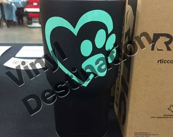 Paw and Heart 30 oz RTIC Tumbler