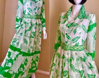 Floral Cotton Chiffon Maxi Dress, 60's Oscar de la Renta Style Gown, Green/ White Floral Hostess Dress, 60's Garden Party Long Dress- size 8