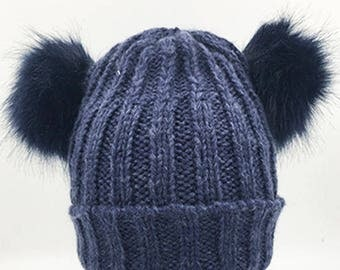 Inspired Navy Rib Beanie Hat With Double Faux Fur  Pom Poms