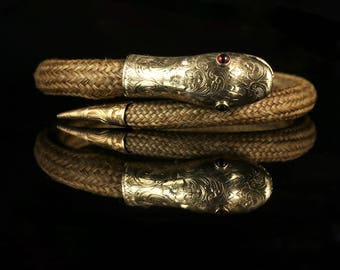 Antique Georgian Mourning Snake Bangle Gold Circa 1780
