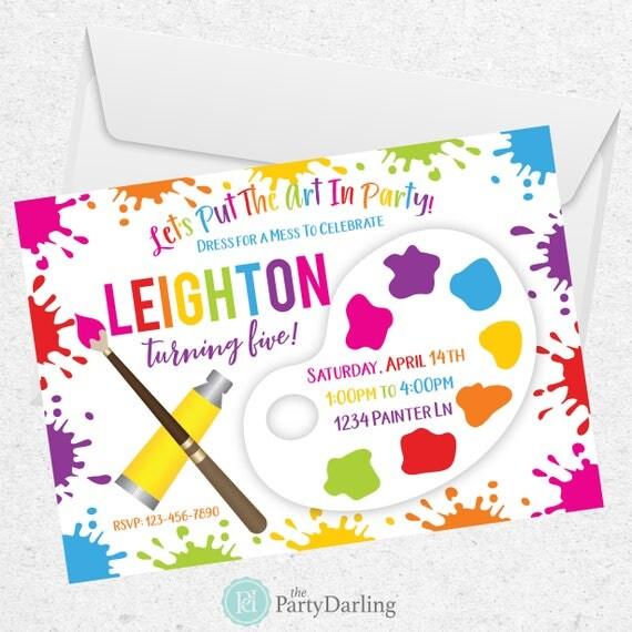 art party invitation paint party invitation rainbow party
