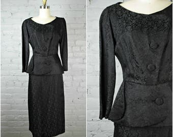 1940s dress . vintage 40s black dress . small