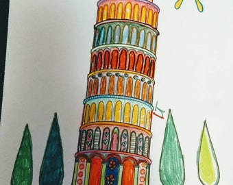 Leaning Tower of Pisa framed coloring page