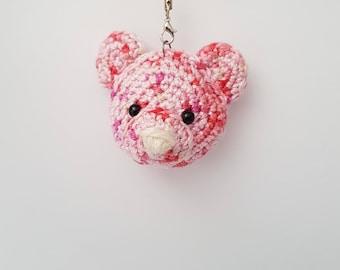 Cute pink Teddy mouth-watering head keychain