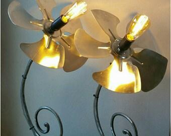 """Duo de 2 lampes """"Fleurs d'Alu"""" bois et métal"""
