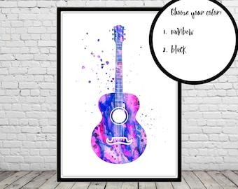 Acoustic guitar, acoustic guitar print, watercolor acoustic guitar, watercolor guitar, classic guitar, watercolor print (3255b)