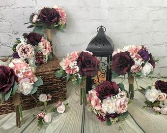 Wedding Bouquet, Bridal Bouquet, Burgundy Bouquet, Blush Bouquet, Pink Bouquet, Red Bouquet, Artificial Bouquet, Silk Bouquet
