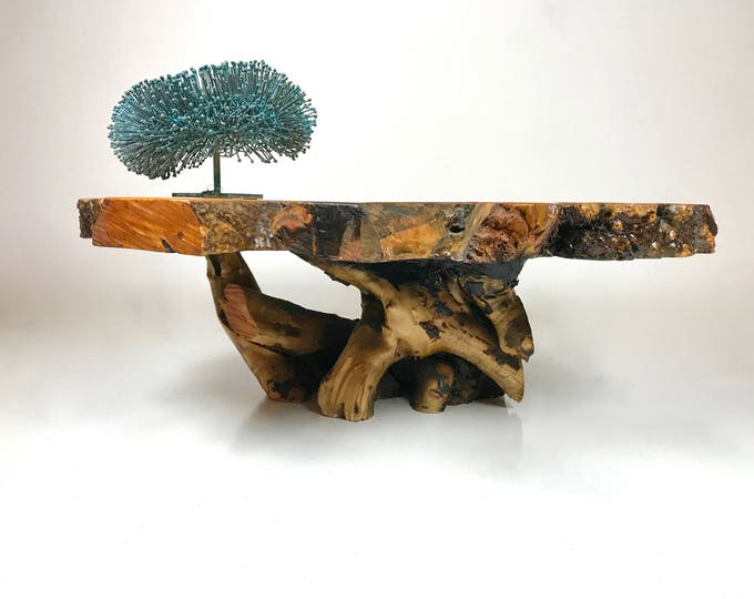 Mid Century Modern PETRIFIED Wood Coffee Table with AMBER Stones