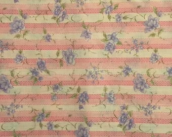 Pink Stripes with  Purple Flowers, Apparel Fabric,  Cotton Fabric, Vintage Sewing Fabric, 1970's Fabric, Pink Striped Fabric, Floral Fabric