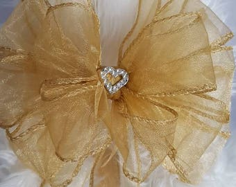 Gift Topper Bow. Luxury Layered Gold Organza Ribbon Bows. Wedding, Birthday, Engagement Present Wrap, Party Decoration
