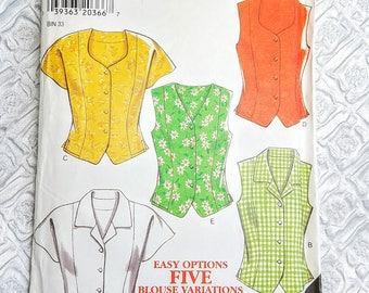 Vintage Blouse Sewing Pattern Simplicity New Look 6636, 1980s Misses Blouse Vest Pattern Size 12 14 16 18  20 22 24 Steampunk Blouse Pattern