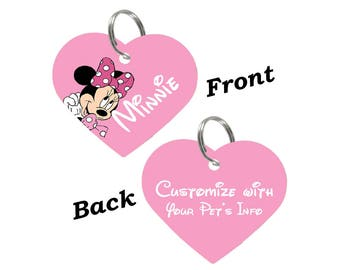 Disney Minnie Mouse Double Sided Heart Pet Id Tag for Dogs & Cats Personalized for Your Pet