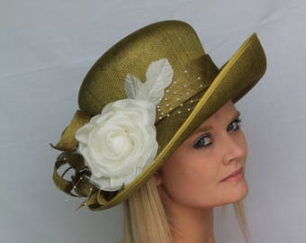 Olive green & ivory formal hat, church hat, spring carnival, melbourne cup, wedding, Kentucky derby, ascot, ladies hat