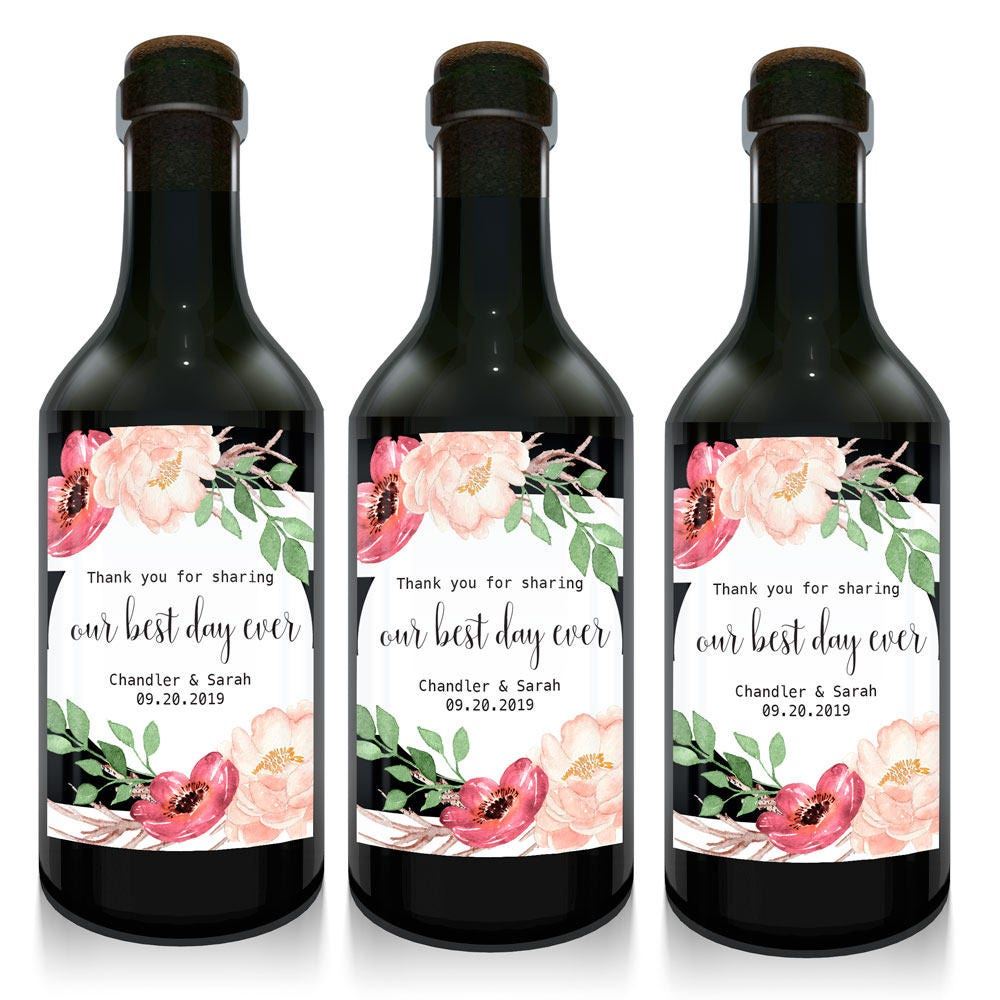 Best Day Ever Mini Wine Bottle Labels For Weddings Boho,Wedding ...
