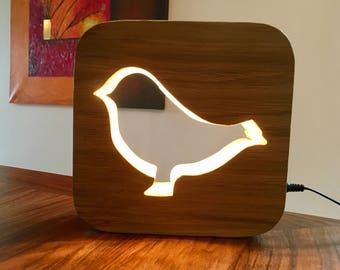 Lamp Led night light with switch pattern painted wooden birds